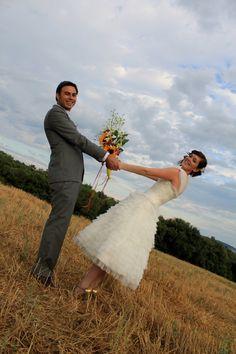 darling, fun + unique.    Vintage Inspired Tea Length Wedding Dress by bridalblissdesigns, $698.00