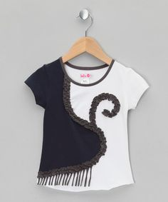 Take a look at this Dark Blue & White Tee - Infant, Toddler & Girls  by LoFff on #zulily today!