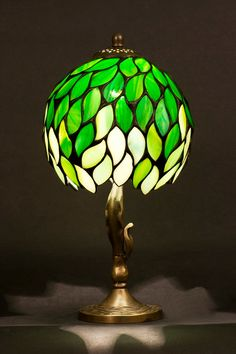 Stained glass Tiffany lampshade with brass base. by WPworkshop