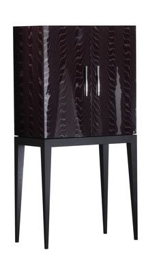 Ag448 Cocktail cabinet in Aubergina High Gloss with Black satin legs  Michael Northcroft Argento Furniture www.michaelnorthcroft.com