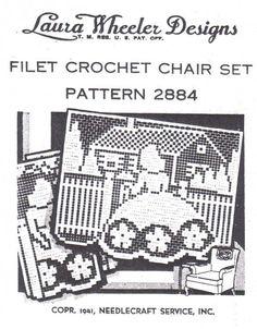 Filet Crochet Sunbonnet Chair Set Laura Wheeler 2884 Pattern