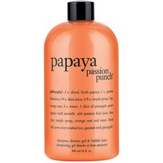 philosophy 'papaya passion punch' shampoo, shower gel & bubble bath ($16) ❤ liked on Polyvore featuring beauty products, bath & body products, body cleansers, beauty, fillers, makeup, orange, cosmetics, cleanser and skin/body treatment