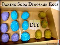 Dinosaurs hardened in a baking soda mix then the kids break open the eggs with tools or use the vinegar spray to make it fizz. Great idea!