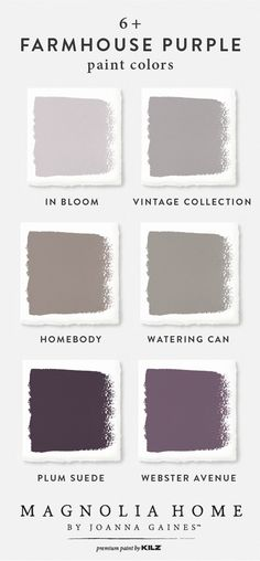 Traditional and modern design styles come together in this farmhouse purple color palette from the Magnolia Home by Joanna Gaines™ Paint collection. Mix light neutral hues like In Bloom, Vintage Colle Purple Paint Colors, Purple Color Palettes, Bedroom Paint Colors, Interior Paint Colors, Paint Colors For Home, Room Colors, Interior Design, Magnolia Paint Colors, Bear Paint Colors