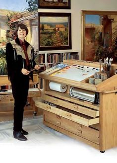 Amazing Taboret: Kate Palmer Taboret - Cheap Joe's Art Stuff Another pinner said it is Way Too Expensive. Art Studio Design, Art Studio At Home, Home Art, Art Studio Organization, Art Storage, Art Desk, Studio Furniture, Painting Studio, Dream Art