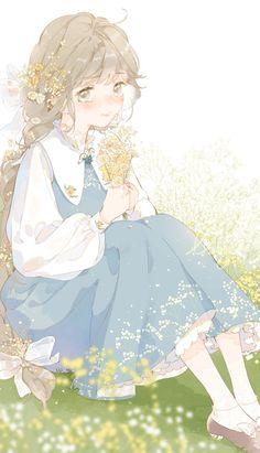 Pretty Anime Girl, Beautiful Anime Girl, Kawaii Anime Girl, Anime Art Girl, Manga Girl, Pretty Art, Cute Art, Chino Anime, Anime Flower