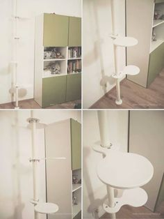 Cat tree. Ikea hacks. I used one post and four brackets for mounting shelves from Ikea (Stolmen series). Shelves are made of...