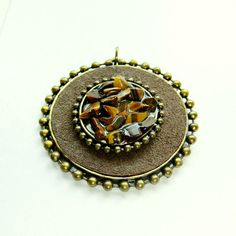 Vintage Leather and Tigers Eye Brass Pendant 50mm by FloridaQuarry