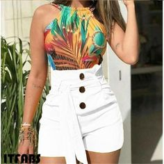 Purchase Female Slim Fashion Sexy High Waist Belt Beach Shorts from OnlineDeal on OpenSky. Skinny Shorts, Shorts Jeans, Belted Shorts, High Waisted Shorts, Loose Shorts, Yellow Shorts, White Shorts, Pants For Women, Clothes For Women