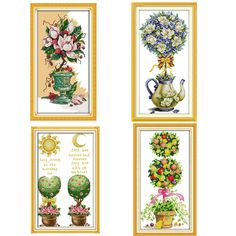 Magnolia Teapot Flowers Paintings Printed On Canva DMC 11CT 14CT Chinese Cross Stitch Patterns Kits Embroidery Needlework Sets //Price: $9.95 & FREE Shipping //     #crafts #sewing