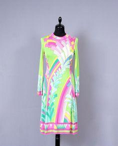 LEONARD Paris Vintage 70s Mikado Silk Jersey Soie Naturel Signed Psychedelic Op Art Print Dress.