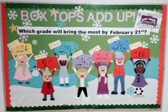 Garrisonville Elementary's Box Tops Contest Bulletin Board...designed by me!  We change out the numbers each Monday.