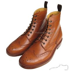 John White Full Brogue Boots in Tan Leather from Arthur Knight