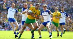 Donegal's Michael Murphy in action against Monaghan's Vinny Corey and Darren Hughes. It seemed to me Murphy played injured at Clones. Michael Murphy, Basketball Court, Soccer, Donegal, Ireland, Photograph, Action, Football, Running