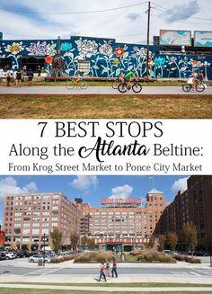 7 Best Stops: Tour Atlanta BeltLine From Krog Street Market to Ponce City Market Ponce City Market Atlanta, Atlanta Midtown, Atlanta Travel, Atlanta City, Piedmont Park Atlanta, Atlanta Food, Atlanta Skyline, Atlanta Georgia, Atlanta Neighborhoods