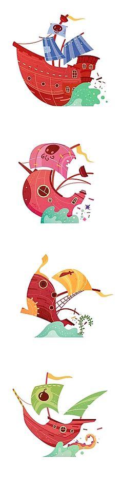 Panique à Bord ! | alxfactory.com Boat Design, Game Design, Pantone, Pirate Boats, Game Concept Art, 2d Art, Stories For Kids, Childrens Books, Board Games