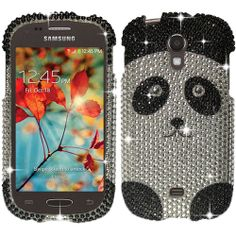 Silver Panda Bear Bling Rhinestone Case Cover For Samsung Galaxy Light T399