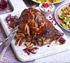 Pulled lamb shoulder with sticky pomegranate glaze