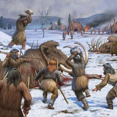 A clan of Neanderthals hunting Mammoth by Rudolph Farkas Prehistoric World, Prehistoric Creatures, Cultura General, Early Humans, Illustration Art Drawing, Strange Photos, Ancient Artifacts, Ancient History, Archaeology