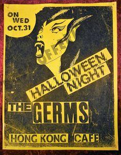 VERY RARE The Germs Flyer Halloween 1979 Hong Kong Cafe Gig Show PUNK FEAR