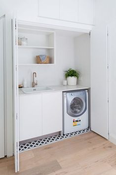 Erskineville laundry before and after: Dreamy Euro style laundry with added storage Laundry In Kitchen, Laundry Bathroom Combo, Laundry Cupboard, Laundry Doors, Garage Laundry, Modern Laundry Rooms, Laundry Room Remodel, Laundry Closet, Laundry Room Storage