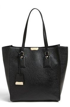 $1,195, Woodbury Medium Leather Tote Black by Burberry. Sold by Nordstrom. Click for more info: http://lookastic.com/women/shop_items/138176/redirect