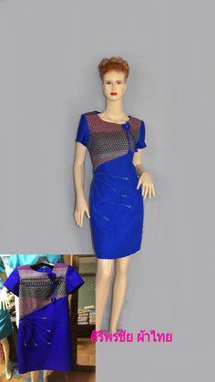 ชุดผ้าไทยสีน้ำเงิน ชุดแซกผ้าไทยชุดแซกผ้าไทยผ้าพื้นเมืองสีน้ำเงินเก๋ๆ ชุดผ้าไทยตัดต่อผ้ามัดหมี่เฉียงเอวแต่งโบว์ปักลูกปัด