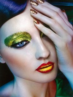 Electric colorful extreme makeup