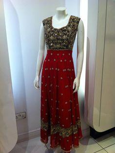 Beautiful Red & Navy Velvet Anarkali