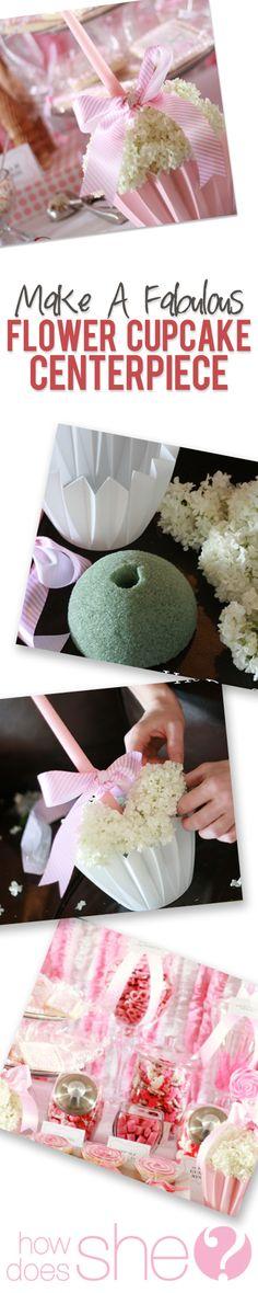 Stunning Flower Cupcake Centerpiece howdoesshe.com