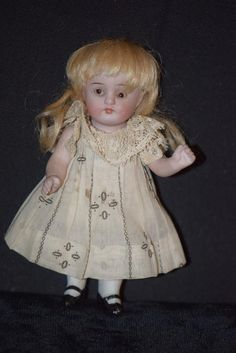 Antique Doll Miniature All Bisque Kestner All Dressed Up Dollhouse