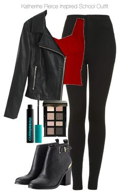 """""""The Vampire Diaries - Katherine Pierce Inspired School Outfit"""" by staystronng ❤ liked on Polyvore featuring Topshop, Chicnova Fashion, Lipsy, Bobbi Brown Cosmetics, Urban Decay, school, tvd, KatherinePierce and thevampirediaries"""