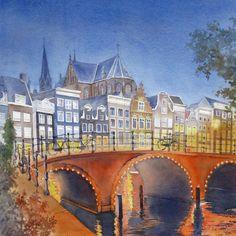 Amsterdam  by night, watercolor, Amelia Husnik