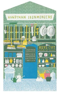 The Handyman Ironmongers on a British High Street - Up My Street - Louise Lockhart | Illustration | Design | The Printed Peanut available to buy online at www.theprintedpeanut.co.uk