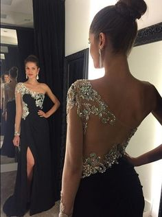 Diyouth Black Mermaid Prom Dresses One Shoulder Crystals Beaded Side Split Sexy Evening Gowns