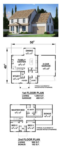 Colonial House Plan with 2169 Square Feet and 3 Bedrooms from Dream