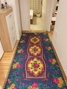 Handwoven rug blue background with pink roses and yellow delicate flowers, wool, vintage carpet made in Romania. Carpeta din lana lucrata manual in Romania Deeper Shade Of Blue, Blue Carpet, Woodland Nursery Decor, Baby Deer, Animal Nursery, Small Rugs, Woodland Animals, Rug Making, House Colors