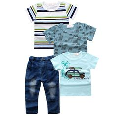 4 Pcs Short Sleeve T-Shirt Jeans Boys Cloth Set