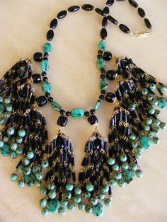 HUGE VTG Signed MIRIAM HASKELL Tassel Waterfall Necklace TURQUOISE & Black Glass