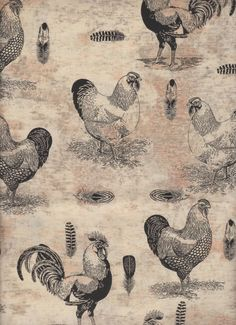 French Rooster Chicken Tan country farm kitchen fabric curtain topper Valance #Handmade #Nautical