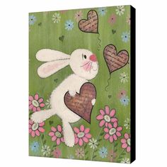 Some Bunny Loves You - Easter Rabbit Painted Kids Canvas Wall Art by Two Little Witches Art. & All rights reserved. Kids Canvas, Wall Canvas, Canvas Art, Art Wall Kids, Art For Kids, 4 Kids, Wall Art, Easter Paintings, Acrylic Paintings