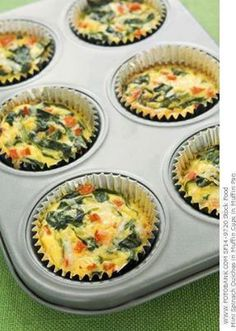 Egg and Spinach Quiche Cups   10 ounces frozen chopped spinach  3/4 cup egg whites  3/4 cup shredded fat free cheese  1/4 cup red bell pepper, chopped  1/4 cup onion, chopped fine  hot sauce (optional)