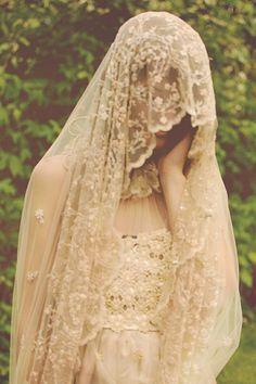 beige-flower-veil - Once Wed