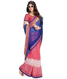 DEEP ROSE AND PINK DESIGNER #SAREE Fabric: #Brocade, #Georgette Code: SMR1012