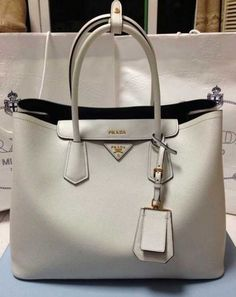 Prada Saffiano Cuir leather tote Chalk white 548e3c101b944