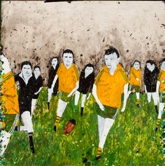 Richard Lewer, 2014, 'I support two teams..the All Blacks and whoever's playing the Wallabies', Oil on epoxy coated steel, 1000 x 1000mm