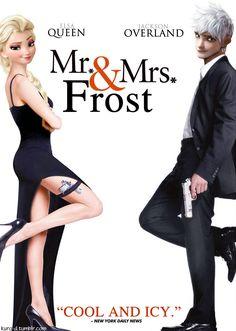 Queen Elsa and Jack Frost. Disney make this happen
