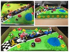 Mario Kart cake I made! (Racing figures are toys, everything else on the cake I made from fondant or buttercream frosting)