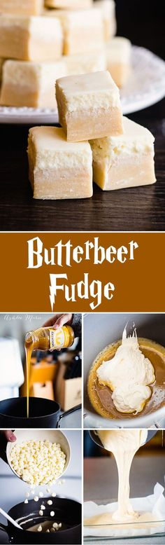 Everyone loves butterbeer, so here is a butterbeer fudge a butterscotch base with a creamy top, just like the drink itself (yum food sweet treats) Fudge Recipes, Candy Recipes, Sweet Recipes, Holiday Recipes, Dessert Recipes, Ark Recipes, Holiday Desserts, Just Desserts, Delicious Desserts