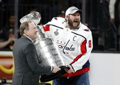 Alex Ovechkin presented the Stanley Cup after Game 5 win Washington Capitals Stanley Cup, Alexander Ovechkin, Alex Ovechkin, After Game, Stanley Cup Champions, Nhl, Hockey, Sports News, Field Hockey